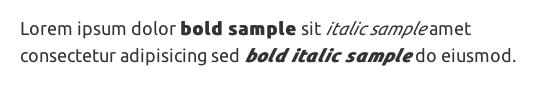 double-italic and bold styles