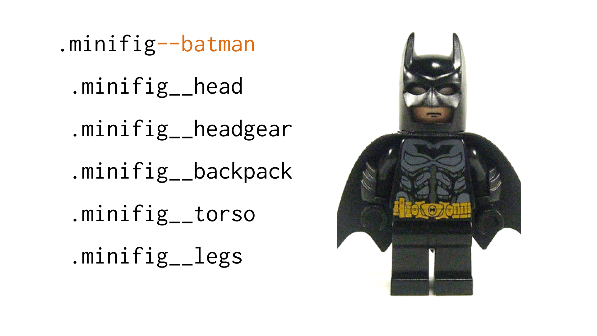 Example of a .minifig--batman module modifier making a drastic change in the appearance of the minifig
