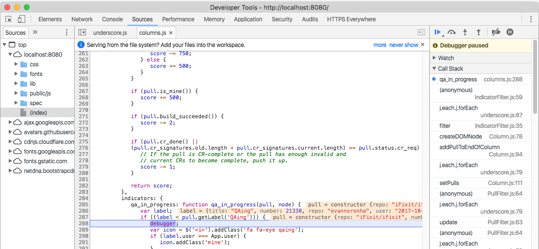 screenshot of debugger in browser devtools