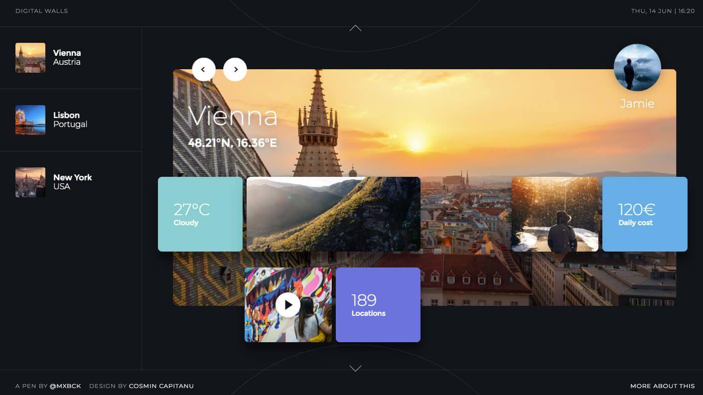 screenshot of fancy grid layout