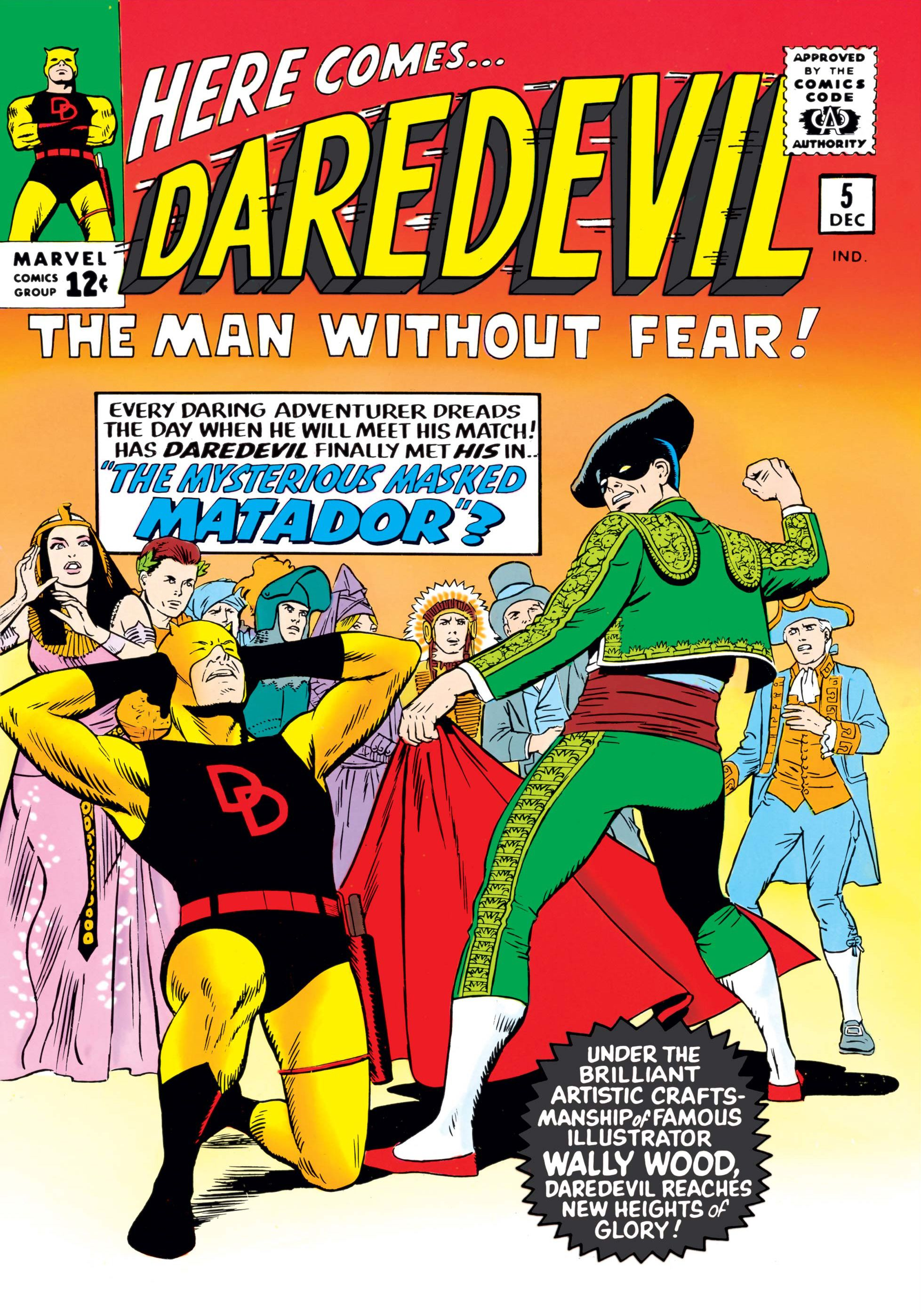 The cover for Daredevil issue 5, with a caption promoting art by Wally Wood.