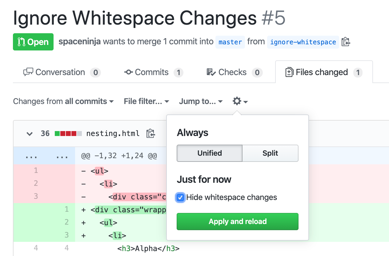 "Screenshot of the GitHub UI, showing the ""hide whitespace changes"" option."