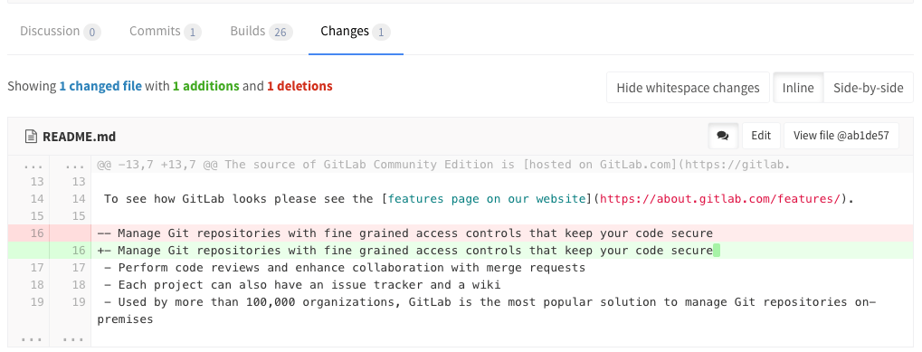 "Screenshot of the GitLab UI, showing the ""hide whitespace changes"" button."