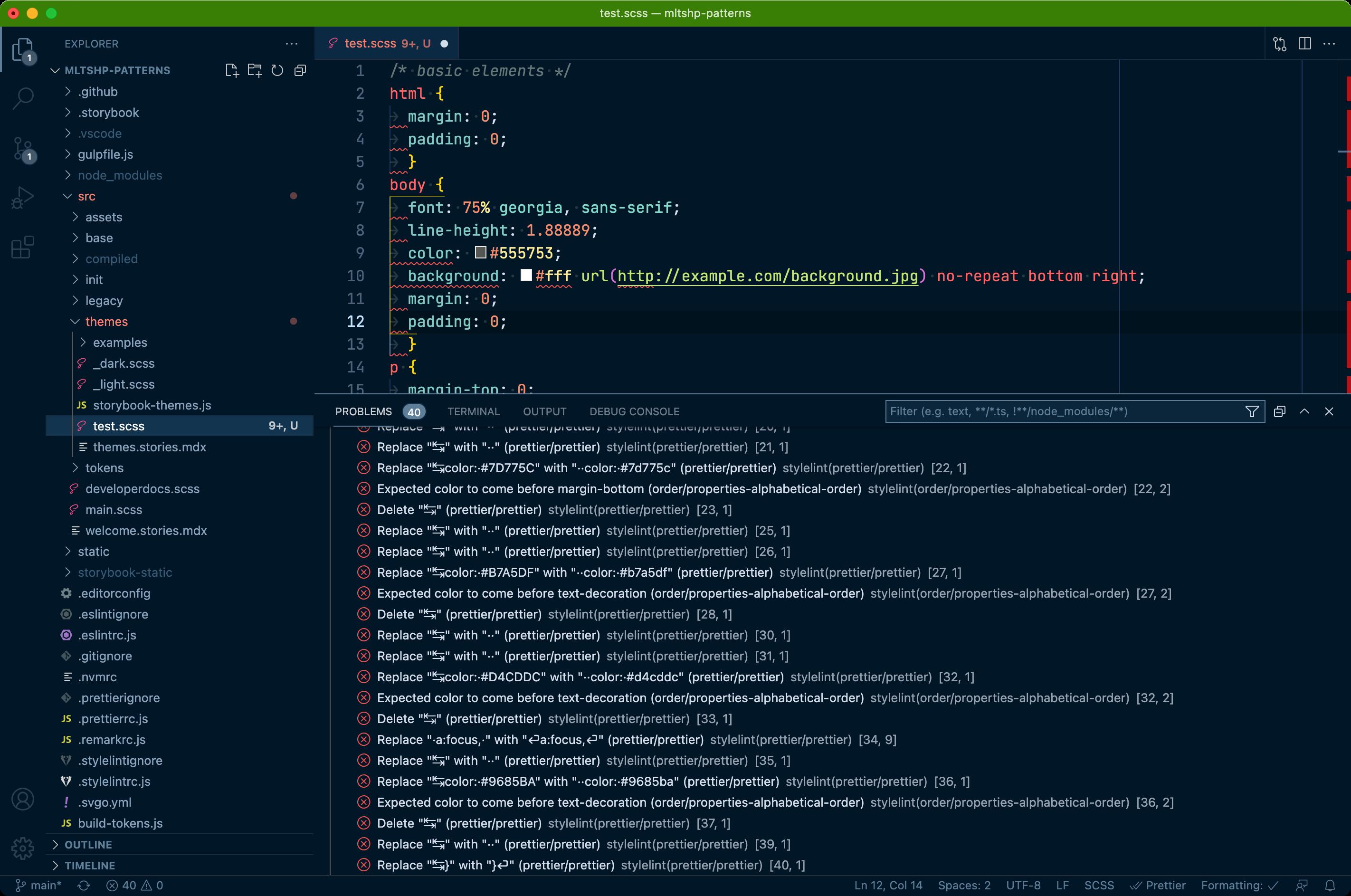 Screenshot of a code editor showing lint errors.